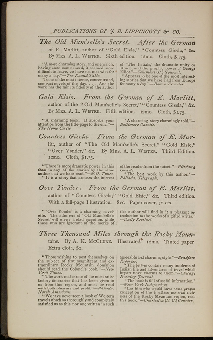 """Fourth Page of Back Advertisements of the 1871 J. B. Lippincott & Co. """"New Edition"""" Reprint"""