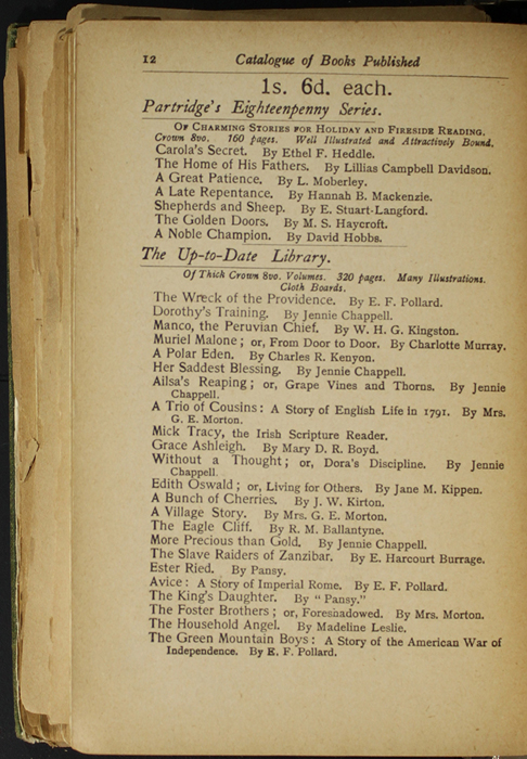 Twelfth Page of Back Advertisements in the [1904] S. W. Partridge & Co. Reprint