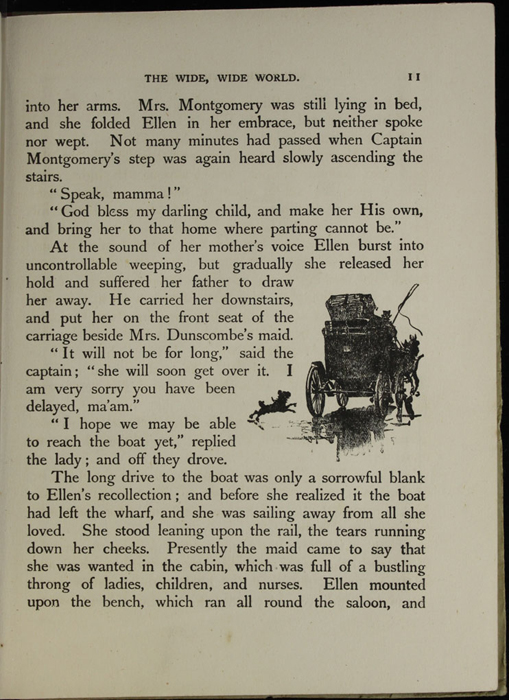 Illustration on Page 11 of the [1918] Thomas Nelson & Sons, Ltd. Abridged Reprint Depicting Ellen's Stagecoach Ride Away from her Mother