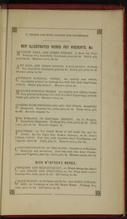 Second Page of Back Advertisements in the 1852 T. Nelson & Sons Reprint, Version 1