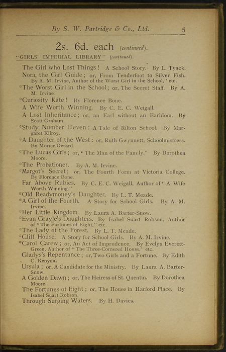 Fifth Page of Back Advertisements in the [1910] S. W. Partridge & Co., Ltd. Reprint