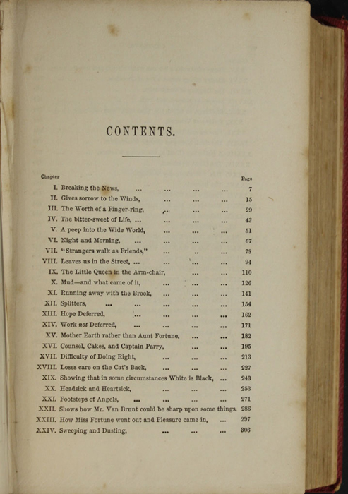 First Page of the Table of Contents for the 1852 T. Nelson & Sons Reprint, Version 1
