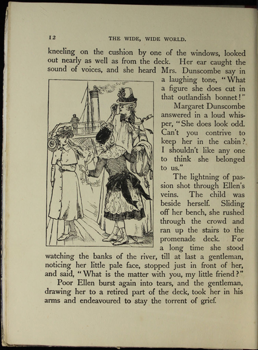 Illustration on Page 12 of the [1918] Thomas Nelson & Sons, Ltd. Abridged Reprint Depicting Ellen and the Dunscombes Arriving at the Steamboat