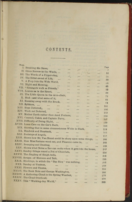 """First Page of the Table of Contents for the 1853 T. Nelson & Sons """"Nelson's Library for Travellers and the Fireside"""" Reprint"""