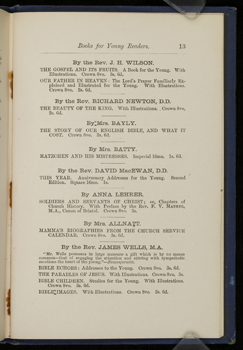 "Thirteenth Page of Back Advertisements in 1886 James Nisbet & Co. ""New ed. Golden Ladder Series"" Reprint"