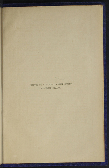 "Colophon for Volume 1 of the 1853 James Nisbet, Hamilton, Adams & Co. ""New Edition"" Reprint"