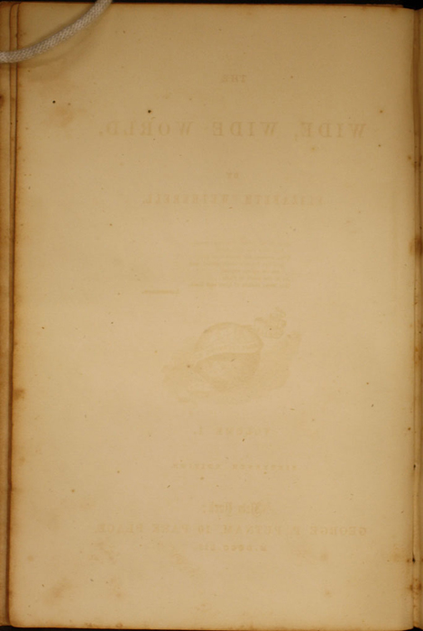 Verso of Second Front Flyleaf of Volume 1 of the 1852 George P. Putnam 16th Edition, Version 1