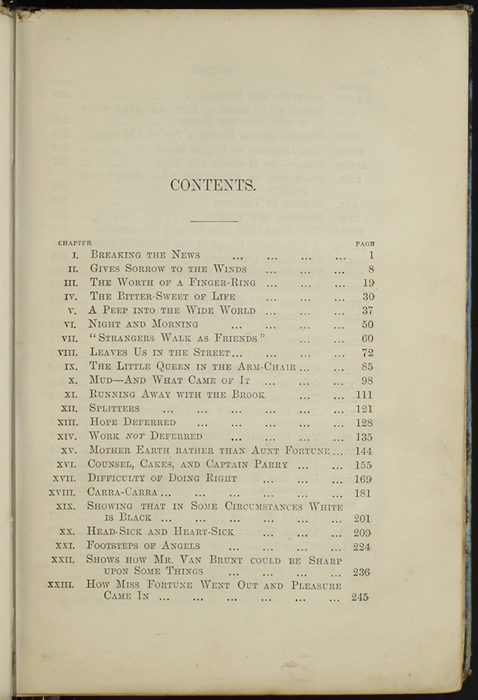 First Page of the Table of Contents for [1890] Frederick Warne & Co. Reprint
