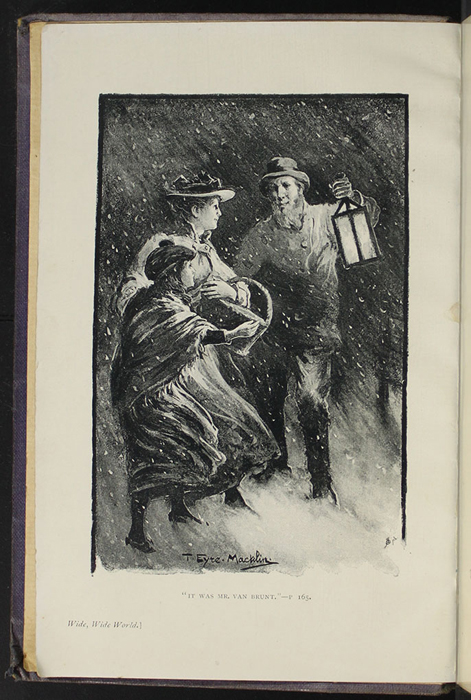 "Frontispiece to the  [1904] The Walter Scott Publishing Co. Ltd. ""Complete ed."" Reprint Depicting Mr. Van Brunt Finding Ellen and Alice in the Snow Storm"