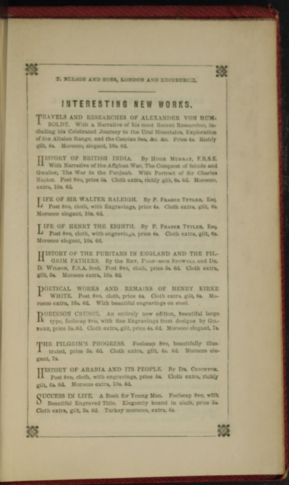 Fourth Page of Back Advertisements in the 1852 T. Nelson & Sons Reprint, Version 1