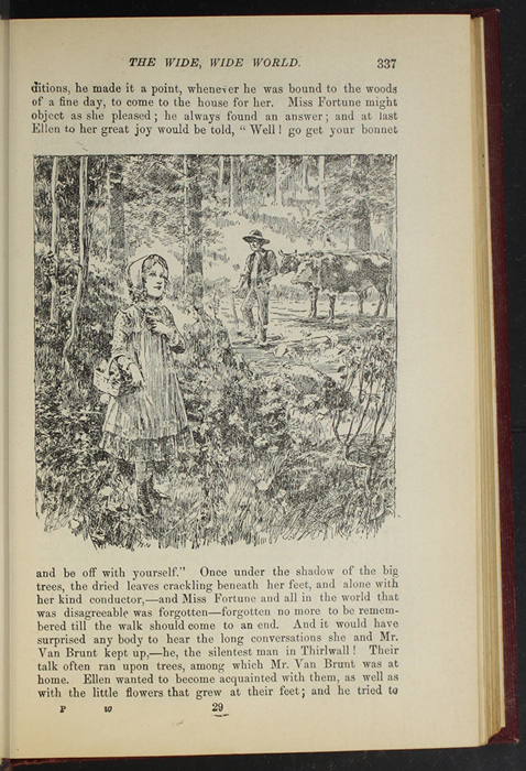 """Illustration on Page 337 of the 1903 J. B. Lippincott Co. """"New Edition"""" Reprint Depicting Ellen and Mr. Van Brunt in the Woods"""