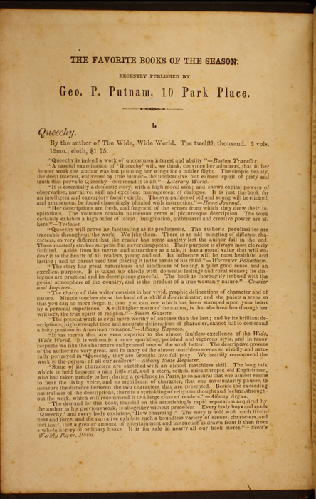 Front Advertisement in Volume 2 of the 1852 George P. Putnam 16th Edition, Version 1<br /><br />