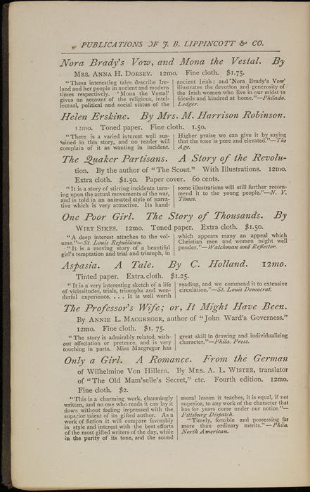 """Sixth Page of Back Advertisements in the 1871 J. B. Lippincott & Co. """"New Edition"""" Reprint"""
