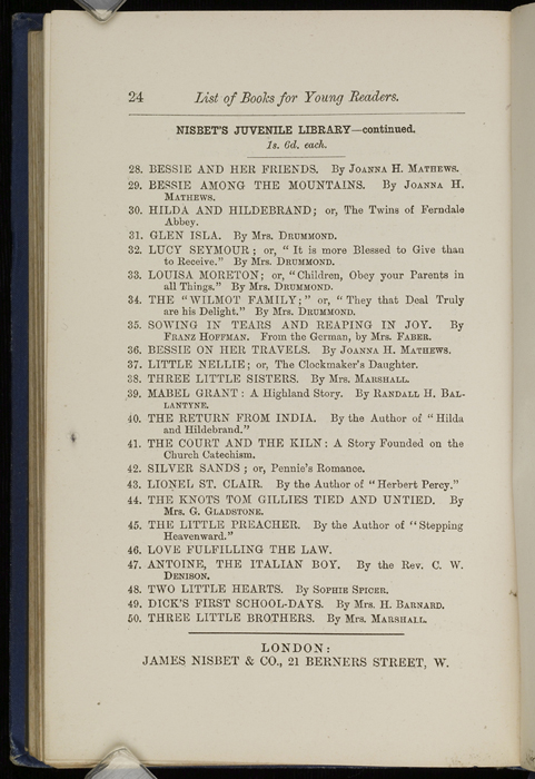 "Twenty-third Page of Back Advertisements in 1886 James Nisbet & Co. ""New ed. Golden Ladder Series"" Reprint"