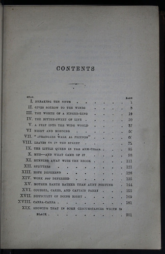 "First Page of the Table of Contents for the 1883 James Nisbet & Co. ""New Edition"" Reprint"