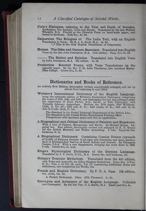 Twelfth Page of Back Advertisements of the G. Bell 1889 Reprint