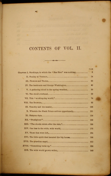 First Page of the Table of Contents for Volume 2 of the 1852 George P. Putnam 16th Edition, Version 1