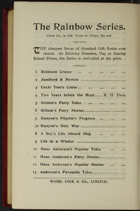 """Twelfth Page of Back Advertisements in the [1902] Ward, Lock, & Co., Ltd. """"Complete Edition"""" Reprint"""