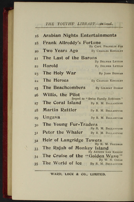 """Eighth Page of Back Advertisements in the [1902] Ward, Lock, & Co., Ltd. """"Complete Edition"""" Reprint"""