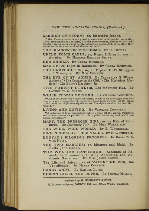 Second Page of Back Advertisements in the [1887] W. Nicholson & Sons Reprint, Version 1