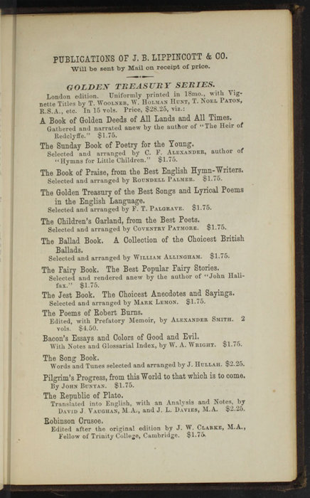 "Fifth Page of Back Advertisements in the 1869 J. B. Lippincott & Co. ""New Edition"" Reprint"