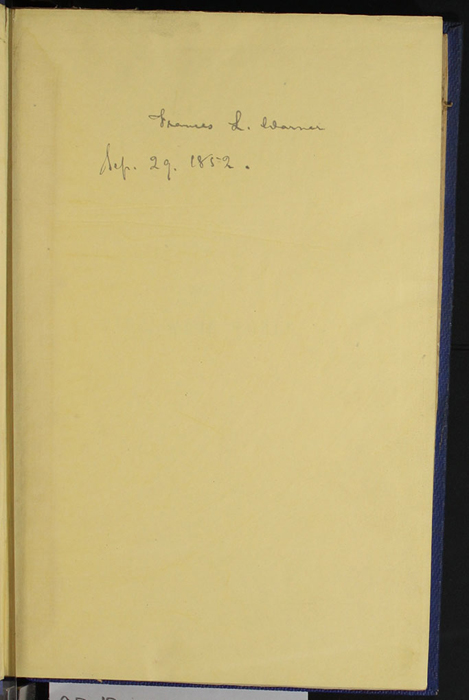 "Recto of Front Flyleaf with Inscription of Volume 1 of the 1852 James Nisbet, Sampson Low, Hamilton, Adams & Co. ""Second Edition"" Reprint"