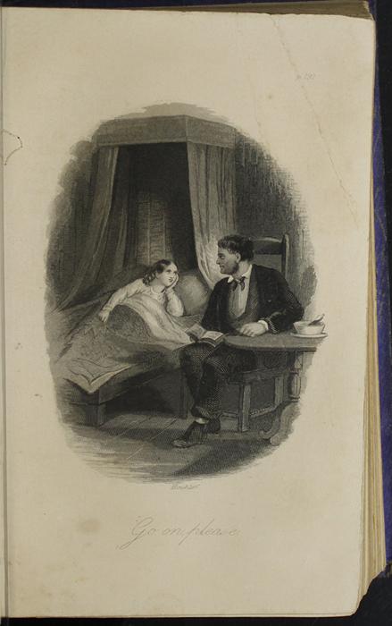 Illustration on Page 192b of the 1853 H. G. Bohn Reprint, Version 1 Depicting Mr. Van Brunt Reading to Ellen at Her Sickbed