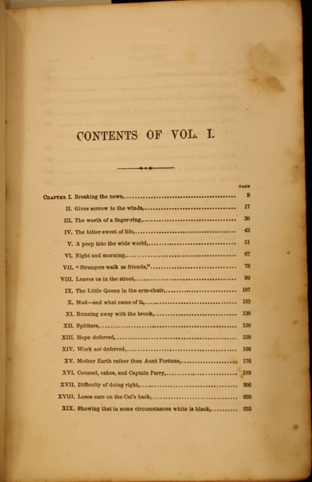 First Page of the Table of Contents for Volume 1 of the 1852 George P. Putnam 16th Edition, Version 1