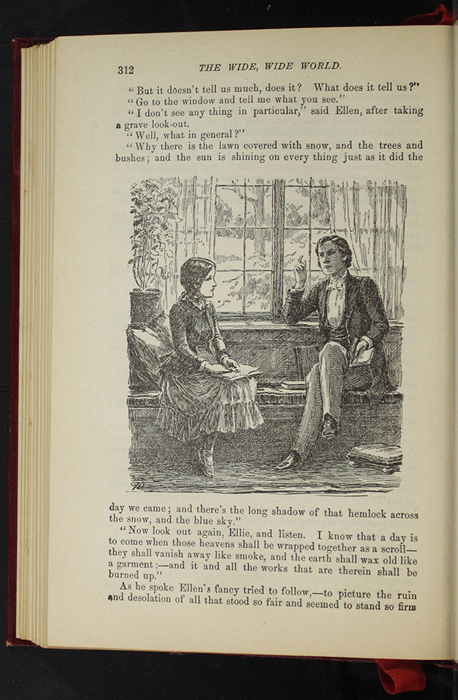 """Illustration on Page 312 of the 1903 J.B. Lippincott Co. """"New Edition"""" Reprint Depicting Ellen and John Reading and Talking at the Marshman's"""