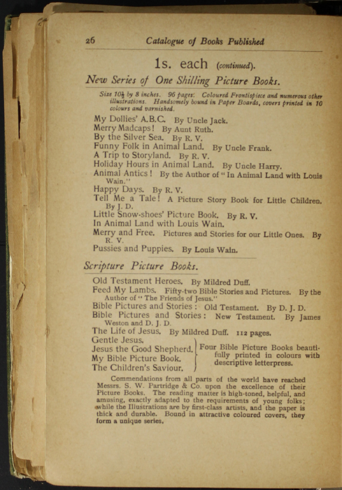 Twenty-Sixth Page of Back Advertisements in the [1904] S. W. Partridge & Co. Reprint