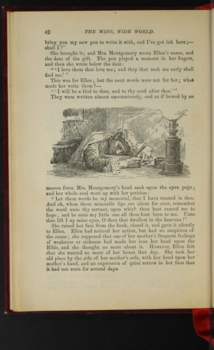 """Illustration on Page 42 of the 1903 J.B. Lippincott Co. """"New Edition"""" Reprint Depicting Mama Bowing Her Head After Inscribing Ellen's Bible"""