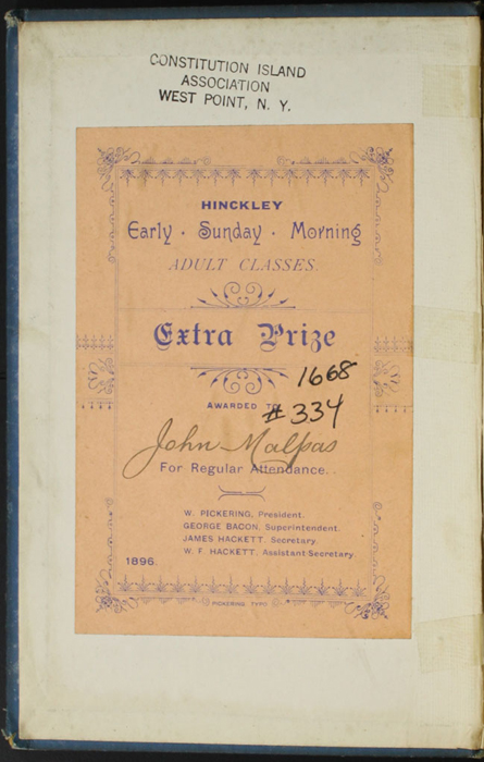 Front Pastedown of the [1899] George Routledge & Sons, Ltd. Reprint, Version 1, with a Prize Plate Presented to John Malpas by the Hinckley Early Sunday Morning Adult Classes