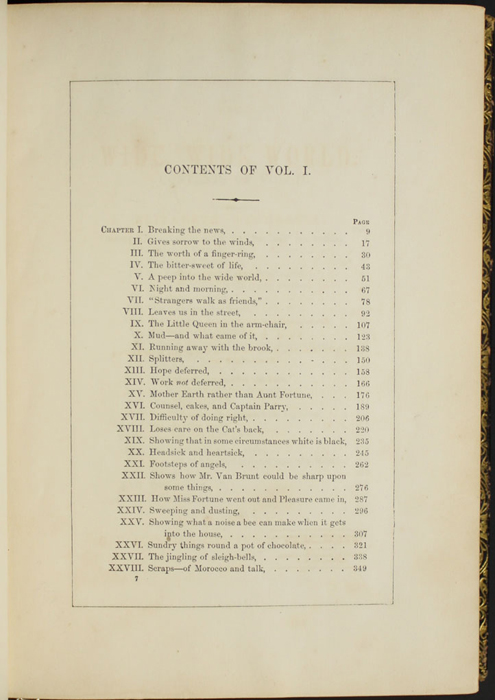 "First Page of the Table of Contents for Volume 1 of the 1853 G.P. Putnam & Co. ""Illustrated Edition"" Reprint"