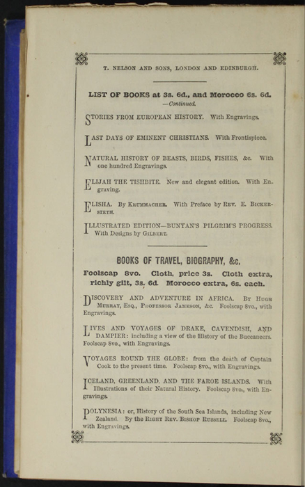 Fourth Page of Back Advertisements in the 1852 T. Nelson & Sons Reprint, Version 2
