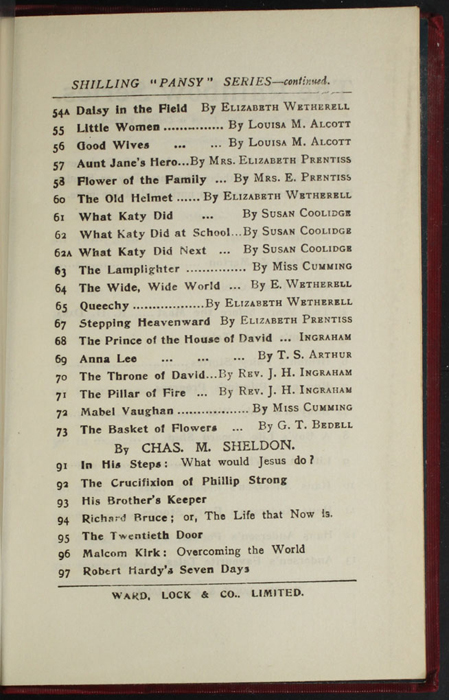 """Eleventh Page of Back Advertisements in the [1902] Ward, Lock, & Co., Ltd. """"Complete Edition"""" Reprint"""