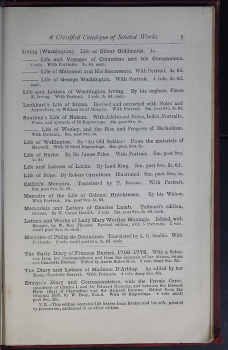 Seventh Page of Back Advertisements of the G. Bell 1889 Reprint