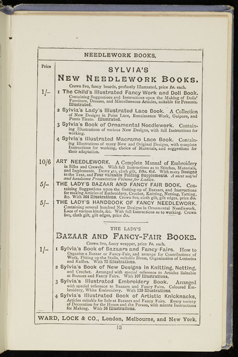 "Sixteenth Page of Front Advertisements in the [1884] Ward, Lock & Co. ""Lily Series, Complete Edition"" Reprint"