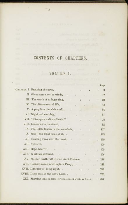 First Page of the Table of Contents for Volume 1 of the 1851 George P. Putnam First Edition<br /><br />
