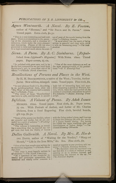 """Fifth Page of Back Advertisements in the 1871 J. B. Lippincott & Co. """"New Edition"""" Reprint"""