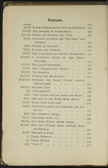 Second Page of the Table of Contents of the [1907] Collins' Clear-Type Press Reprint