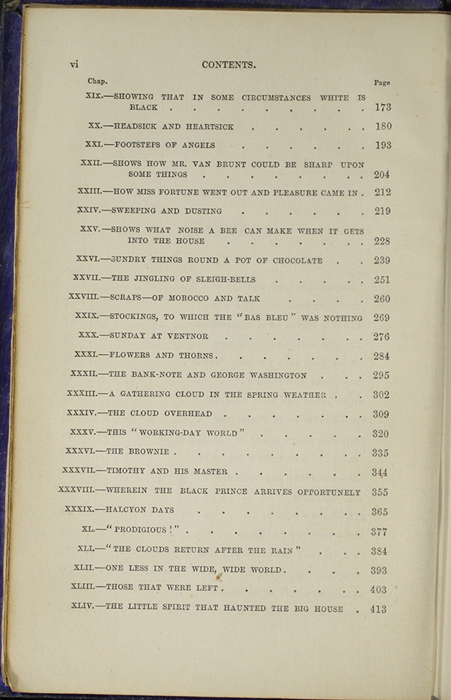 Second Page of the Table of Contents for the 1853 H. G. Bohn Reprint, Version 1