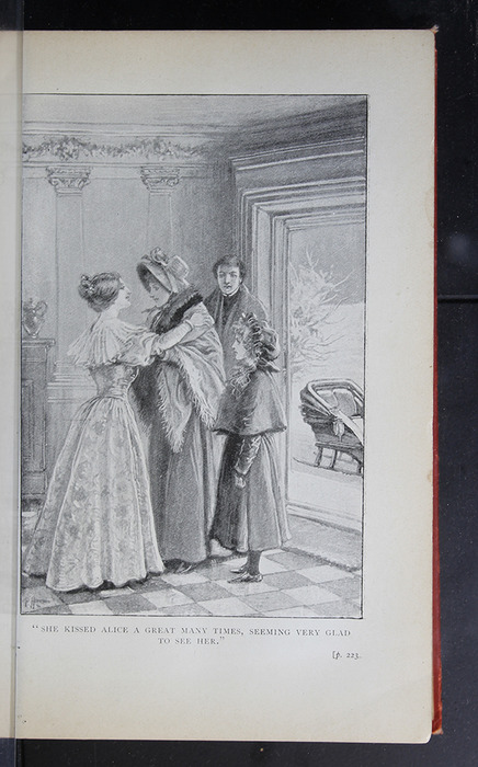 "Illustration on Page 222a of the [1896] S. W. Partridge & Co. ""Marigold Series"" Reprint Depicting Ellen, Alice, and John Arriving at the Marshmans'"