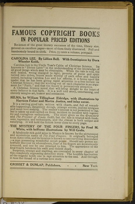 First Page of Back Advertisements in the [1907] Grosset & Dunlap Reprint, Version 3