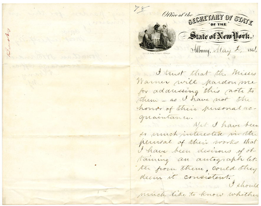 Burdick, Jonathan H. to Misses Warner, Albany, NY, May 2, 1861