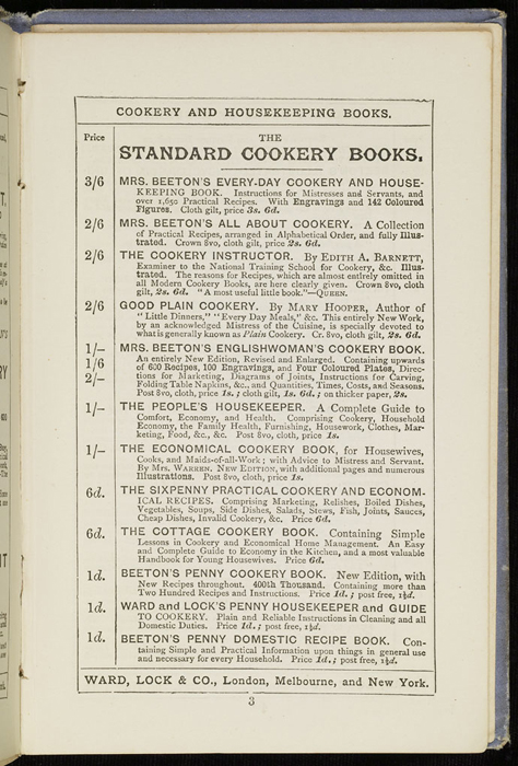 """Sixth Page of Front Advertisements in the [1884] Ward, Lock & Co. """"Lily Series, Complete Edition"""" Reprint"""