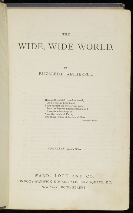 """Title Page to the [1884] Ward, Lock & Co. """"Lily Series, Complete Edition"""" Reprint"""