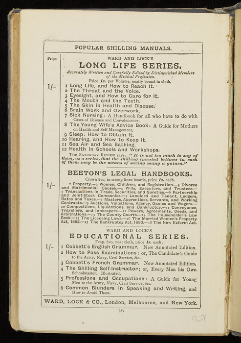 """Nineteenth Page of Front Advertisements in the [1884] Ward, Lock & Co. """"Lily Series, Complete Edition"""" Reprint"""