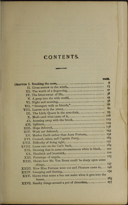 First Page of the Table of Contents for the [1902] H. M. Caldwell Co. Reprint