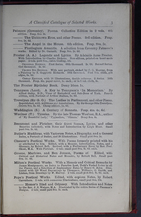 Third Page of Back Advertisements of the G. Bell 1889 Reprint