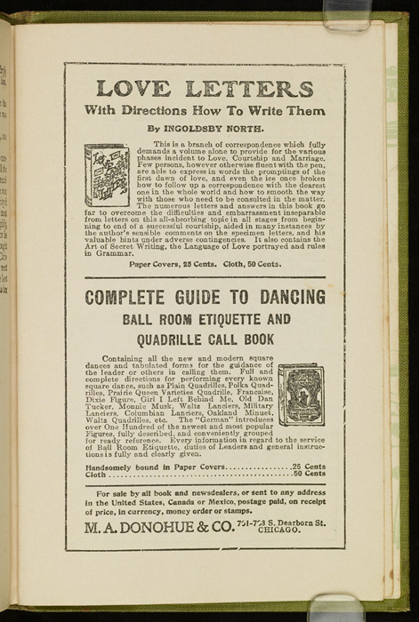 First Page of Back Advertisements in the [1915] M. A. Donohue & Co. Reprint